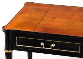 antique french louis xvi style ebonized desk with tan leather top