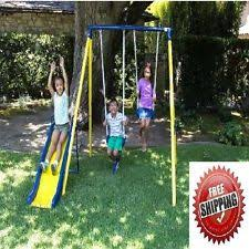 Swing Set For Backyard by Swing Set Playground Metal Swingset Outdoor Play Slide Kids