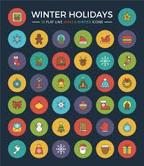 free winter holidays flat line icon set webdesigner depot