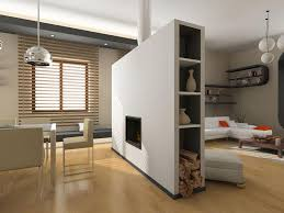 perfect wall fireplace partition room for wood burner storage on