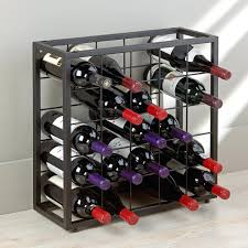 reclaimed wood and metal wine rack having display letter art on