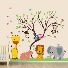 children kids diy room removable jungle zoo monkey tree owl bird children kids diy room removable jungle zoo monkey tree owl bird vinyl decal home decoration wallpaper