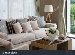 modern living room design sofa wooden stock photo 234327256