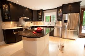 apartments elegant kitchen room design with glossy black granite