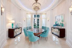 decor transitional dining room using blue velvet chairs and