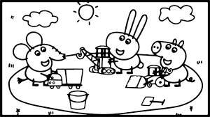 how to draw peppa pig playground coloring pages kids drawing