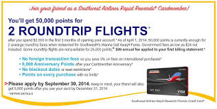 Southwest Premier Business Card 50000 More Links To The Southwest 50 000 Mile Credit Card Offer Points