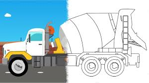 cement mixer truck construction vehicle coloring book