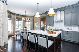 Dark Gray Kitchen Cabinets Gray Moldings In Contemporary Kitchen Atmosphere Interior Design