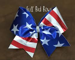 Blue White And Red Flags Cheer Bow American Flag Red White And Blue
