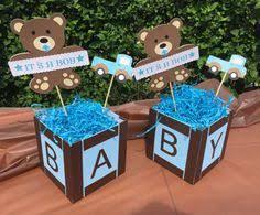baby shower teddy bear centerpiece orange and blue first