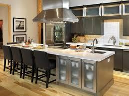 adorable butcher block kitchen islands plus four black chairs