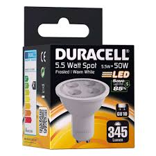 Led Light Bulb Gu10 by Duracell Gu10 Led Spot Light Bulb 5 5w 50w Equivalent Frosted