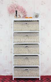 Bathroom Basket Drawers Wholesale White Wooden Storage Bathroom Cabinet With Wicker Basket
