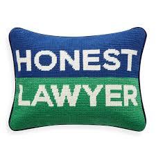 honest lawyer needlepoint pillow 9 x 12 jonathan adler