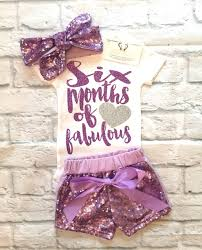 birthday onesie girl baby girl clothes six months of fabulous half birthday bodysuit