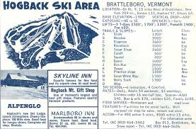 New England Area Map by 1964 65 Hogback Trail Map New England Ski Map Database