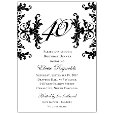black and white decorative framed 40th birthday invitations