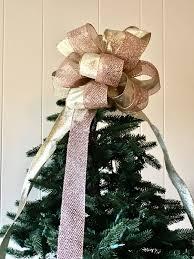 rose quartz bow tree topper glittering rose gold tree topper bow