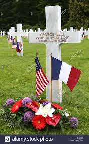 Grave Marker Flags American And French Flags Mark A Grave Site Of Soldiers Killed In