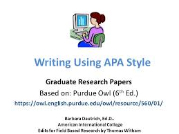 Owl Purdue Resume Writing Using Apa Style Graduate Research Papers Based On Purdue