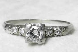 vintage engagement ring 18k ring old european cut diamond ring 50