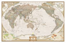 Large Wall World Map by National Geographic Maps World Executive Pacific Centered