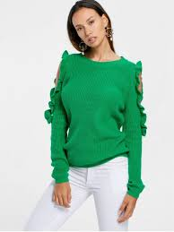 cold shoulder sweaters frill cold shoulder sweater green sweaters l zaful