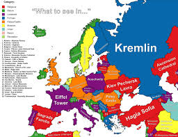 countries visited map this map shows the best thing to see in each european country