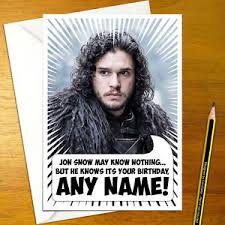 of thrones birthday card of thrones jon snow personalised birthday card a5 winter is
