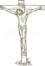 jesus cross drawing stock vector colourbox