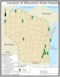 Wisconsin City Map by List Of Wisconsin State Forests Wikipedia