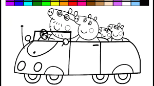 learn colors peppa pig rainbow car coloring page video learning