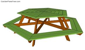 Hexagon Wood Picnic Table Plans by Picnic Table Designs Free Garden Plans How To Build Garden