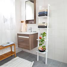 Bathroom Ladder Shelves Haotian White Modern Wood Ladder Shelf 4 Tiers Stand