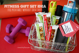 fitness gift basket fitness gift set idea free printable workout idea cards any tots