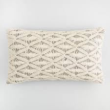 macrame gray chambray lumbar pillow world market