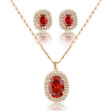 fashion jewelry necklace sets images China wholesale luxury red stone 18k gold fashion jewelry sets jpg