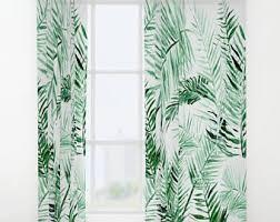 Leaf Design Curtains Green Window Curtains Banana Leaf Curtain Panels Tropical