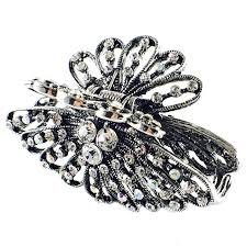 hair claw chrysanthemum hair claw jaw clip use rhinestone silver