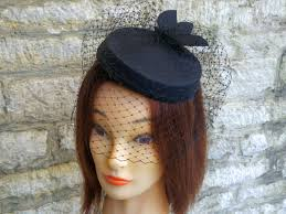 funeral veil pillbox hat with veil black cocktail hat and birdcage