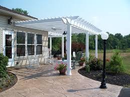 Concrete Patio Designs Front Yard White Pergola Sted Concrete Patio Design Ideas