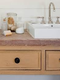 distressed vanity with rectangular vessel sink and gooseneck