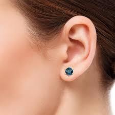 blue diamond stud earrings kenna blue diamond 6 5mm martini solitaire stud earrings blue