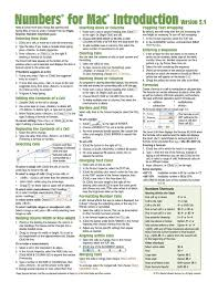 Numbers For Mac Quick Reference Guide Version 3 1 2 Introduction