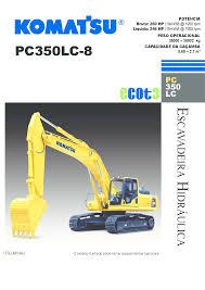 manual de especificações escavadeira hidráulica komatsu pc350 lc