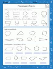 naming polygons math practice worksheet grade 4 teachervision