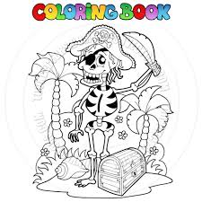 cartoon coloring book pirate skeleton by clairev toon vectors
