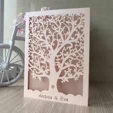 Tree Wedding Invitations Aliexpress Com Buy 100pcs Love Heart Tree Laser Cut Wedding