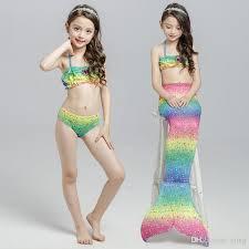 Mermaid Halloween Costumes Kids Newest Baby Kids Mermaid Scale Mermaid Tail Cosplay
